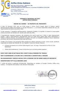 19 dicembre 2015 Comunicato Stampa Anffas Onlus Subiaco