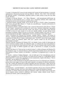 21 dicembre 2015 Comunicato Stampa Distretto Socio Sanitario G4
